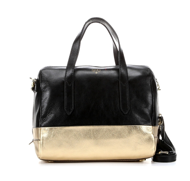 The Fossil Sydney Satchel in gold dip.